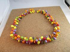 Vintage early plastic celluloid fruit salad necklace Hipster Statement novelty