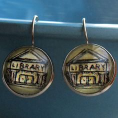 Library Earrings Building Librarian Bookish Literary Theme by ALikelyStory on Etsy https://www.etsy.com/listing/59511578/library-earrings-building-librarian