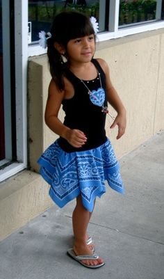 bandanas + tank top. So easy and cute. I might do this for the girls
