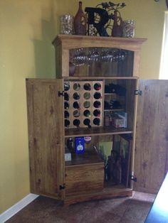 Repurposed Armoire Computer Hutch Cabinet Made Into Wine Cabinet.