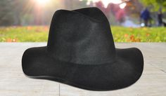 Black Wool Panama Hat with Flexible Brim