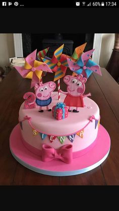 Peppa pig cake Peppa Pig is actually a Indian toddler computer animated television system series 3rd Birthday Cakes For Girls, Peppa Pig Birthday Cake, Peppa Pig Cakes, Special Birthday, Simple Birthday Cake Designs, Cake Designs For Kids, Fiestas Peppa Pig, Peppa Pig Party Games, Papa Pig
