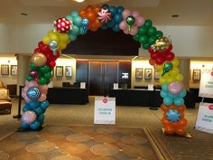 Candy balloon arch. Www.blowitupballoons.com Up Balloons, Balloon Arch, Ornament Wreath, Ornaments, Wreaths, Candy, Home Decor, Decoration Home, Door Wreaths