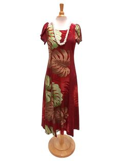 Hilo Hattie Hilo Hattie Monstera Palm Fronds Burgundy Rayon Hawaiian Tulip Sleeve Dress