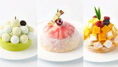 表参道のアントルメグラッセ・生グラス(生アイス)専門店「GLACIEL(グラッシェル)」の2015年の夏限定商品。左から、「リゴロ」、「メルバ」、「タルトマンゴーココ」。