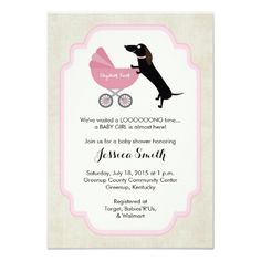 Dachshund Child Bathe Woman Invitation. *** See even more at the photo