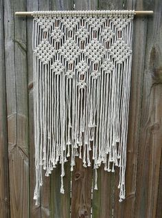 Large macrame wall hanging. copper beads by Jonatis on Etsy