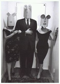 """Masks reveal more than Faces - Oscar Wilde. Paper masks by illustrator Saul Steinberg, photographed by Inge Morath in New York, c. Appearing in Morath's fine book """"Saul Steinberg Masquerade. Saul Steinberg, Looks Halloween, Halloween Costumes, Funny Halloween, Happy Halloween, Halloween Party, The New Yorker, Inge Morath, Paper Mask"""