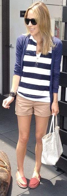 Outfit Posts: outfit post: striped sweater, khaki shorts, navy boyfriend cardigan, pink boat shoes