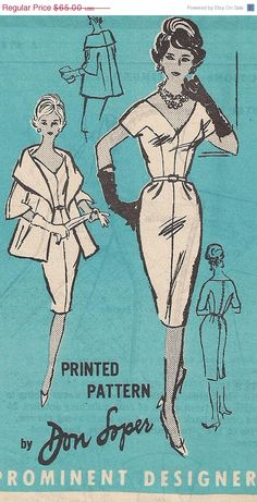 SPRING 60s  Don Loper Dress and Cape Coat  by PatternsOfYore, $55.25