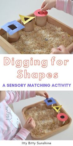 Digging for Shapes ~ Itty Bitty Sunshine - A fun shape sorting sensory activity for your toddler. This low-prep activity is a great way to teach your child shapes and colors while he works on his fine motor and cognitive motor skills! Quiet Toddler Activities, Montessori Activities, Teaching A Toddler, Sensory Activities Preschool, Reggio Emilia Preschool, Home Activities, Learning Shapes, Kids Learning, Cognitive Activities