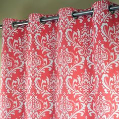 Coral and White Floral Damask Grommet Curtains in Premier Prints Ozbourne Print. Available with Blackout, Thermal or Stain Resistant Cotton Lining