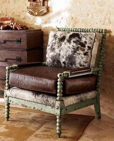 Hair-on-hide and leather chair with a mint wood frame Cowhide Furniture, Western Furniture, Leather Furniture, Cool Furniture, Cowhide Chair, Cowhide Decor, Leather Sofas, Furniture Online, Do It Yourself Furniture