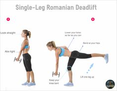 Single-Leg Romanian Deadlift (also called Single-Leg Straight-Leg Deadlift) mainly targets your hamstrings. This move also works your glutes and core. It also helps to create the balance between your legs and reduce your risk of injuries by strengthening