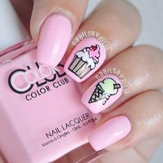 Birthday nails for kids best Ideas Pretty Nail Art, Cute Nail Art, Cute Nails, Stylish Nails, Trendy Nails, Ice Cream Nails, Nail Art For Kids, Nail Art Stripes, Funky Nails