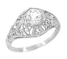Edwardian Diamond Scroll Dome Filigree Engagement Ring in 14 Karat White Gold