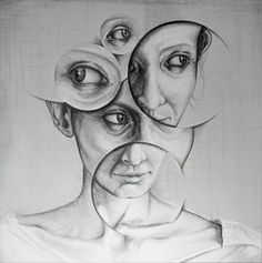 ARTFINDER: Who am I. by andy butler - A pencil on canvas work based on the idea of how I interact with the subject and how all portraits are as much a depiction of the artist as they are the subjec… Ap Drawing, Drawing Eyes, Woman Drawing, Art And Illustration, Illustrations, Andy Butler, Abstract Pencil Drawings, Abstract Art, Fantasy Anime
