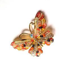 Sunshine Multicolor Beaded Butterfly Brooch circa 1960s