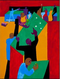 """Jacob Lawrence, """"Throwing the Dice""""  24 x 18  Gouache and pencil in paper"""