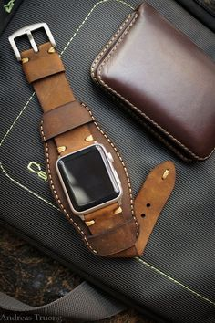 Change any watch strap you like to fit your new Apple Watch with Black Forest Atelier Straps and Apple Watch Adapter A Pair of Shining Silver - mens swiss watches, chain watches for men, expensive watches *ad Leather Cuffs, Leather Tooling, Leather Men, Leather Wallet, Leather Watches, Custom Leather, Leather Bags, Leather Accessories, Leather Jewelry
