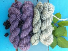 Turns out blackberries can do other things besides make delicious treats and be a pain in the garden. I love the nice purple and green that I got with berries and leaves/stems. I used an alum mordant on the yarn before dyeing.   What Im learning to love about natural dyeing is that each batch is unique! You never really know what you are going to get even if you try and repeat exactly what you did before. Its a wonderful surprise every time!