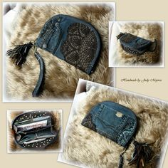 Handmade by Judy Majoros - Denim chrochet wallet-clutch with leather fringe…