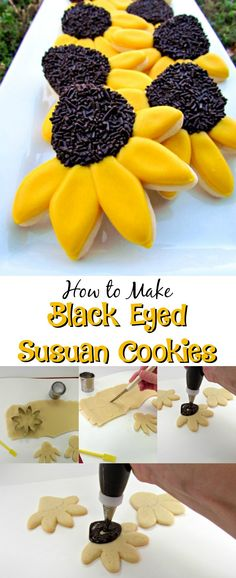 How to Make Black Eyed Susan Cookies via www.thebearfootbaker.com