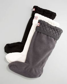 Hunter Boot Knit-Cuff Fleece Welly Sock  in Black/White/Gray