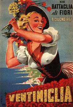 Ventimiglia Battaglia Di Fiori 1957 Flower Exhibit - Mad Men Art: The 1891-1970 Vintage Advertisement Art Collection