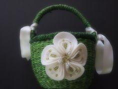 Flower Girl Basket Wedding Ivory Green by ArtisanFeltStudio on Etsy