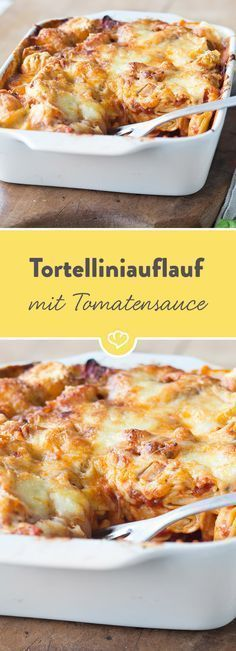 Tortellini bake with spicy tomato and spinach sauce- Tortelliniauflauf mit würziger Tomaten-Spinat-Sauce Tortellini, spinach, tomatoes, mozzarella … hmm! This casserole is made very easy and is loved by everyone thanks to delicious ingredients. Sauce Recipes, Pasta Recipes, Dinner Recipes, Veggie Recipes, Vegetarian Recipes, Healthy Recipes, Tortellini Bake, Pasta Bake, Vegan Tortellini