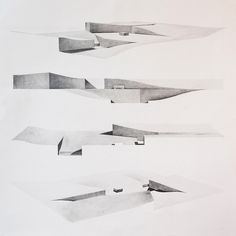 "Drawing ARCHITECTURE: Edward Han Myo Oo, drawing for landscape design, 2014, pencil, 36""x36""."