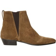 ISABEL MARANT Etoile 20mm Patsha Suede Ankle Boots (735 CAD) ❤ liked on Polyvore featuring shoes, boots, ankle booties, ankle boots, brown, short heel boots, short boots, suede bootie, low heel booties and brown booties