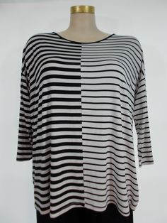 Comfy USA - Modal Black/White Multi Stripe Contrast Drop Sleeve Tunic