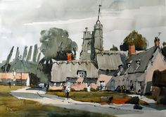 Town House Films: New Web Site For Watercolour Artist John Hoar Watercolor Art Landscape, Watercolor Architecture, Watercolor Sketchbook, Watercolor Art Paintings, Gouache Painting, Watercolor And Ink, Landscape Art, Watercolours, Urban Sketching