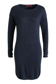 Meleret strikkjole i navy fra Esprit