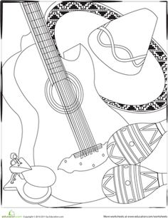 Cinco De Mayo First Grade Holiday Music Worksheets Color The Instruments