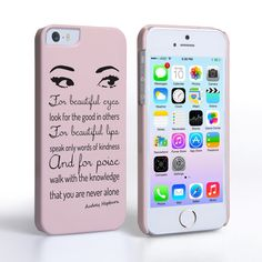 Caseflex iPhone 5/5s Audrey Hepburn 'Eyes' Quote Case | Mobile Madhouse #Gift #Present #Apple #AppleiPhone5 #iPhone5 #iPhone #Case #Cover #HardCase #PhoneCover #Audrey #Hepburn #Beautiful #Girly #Pink #Typography #Handwriting