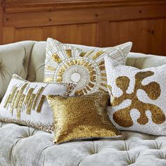 Gypset Glamour. Shimmering disks and beads made of real brass are embroidered on chunky ivory linen in our Talitha Pillow Collection. Choose from the organic Amoeba, the bold and graphic Sunburst and Bars patterns, or add a pure dose of Pow with the solid brass Discs sequined pillow. Crafty, couture, and exotic, these Talitha Pillows will add Gypset glamour to your palazzo, yurt, ski lodge, or Park Avenue penthouse. You kinda' just need them all. #jonathanadler #homedecor