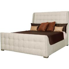 Mercer Classic Beige Tufted Modern Sleigh Bed Queen ($3,057) ❤ liked on Polyvore featuring home, furniture, beds, fabric beds, modern beds, fabric sleigh bed, antique white queen bed and upholstered bed