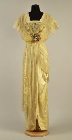 Evening dress, silk and metallic thread with pearls and beads, no location available, ca. 1910