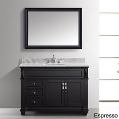 @Overstock.com - Virtu USA Victoria 48-inch Single Sink Bathroom Vanity Set - This elegant Victoria 48-inch single sink bathroom vanity set is equipped with three soft-closing drawers, two soft-closing doors, Italian white Carrara countertop, one set of pre-drilled wide-spread hole faucet holes, and beautiful matching glass mirror.  http://www.overstock.com/Home-Garden/Virtu-USA-Victoria-48-inch-Single-Sink-Bathroom-Vanity-Set/8346853/product.html?CID=214117 $1,299.00
