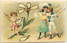 Valentine 1907 Cupid Flower Petals Boy Girl Embossed Glitter Vintage Postcard Valentine 1907 Cupid is pulling petals off of flower while a boy kisses his girl. Used collectible antique undivided back
