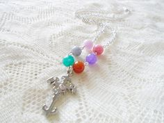 Cross rainbow pendant necklace Gemstone silver chain necklace