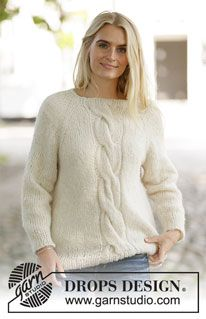 Snow Scents - Knitted jumper with raglan in DROPS Brushed Alpaca Silk and DROPS Nord. Piece is knitted top down with cable mid front. Size: S - XXXL Free knitted pattern DROPS Knitting Patterns Free, Knit Patterns, Free Knitting, Drops Design, Yarn Brands, Work Tops, Vintage Crochet, Alpacas, Knit Cardigan