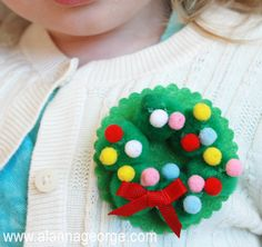 Easy pom-pom wreath pin for kids to make. Sequins instead of Pom-poms?