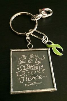 Lime Green Ribbon Keychain / Little and Fierce / Lime Disease Awareness / Lymphoma Survivor / Non-Hodgkin's lymphoma by RockYourCauseJewelry on Etsy