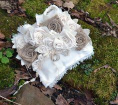Wedding Ring Bearer Pillow, Vintage Up cycled Organic, Burlap Rose Cluster, Rustic Vintage Wedding, Bridal Shower Gift, Romantic. $50.00, via Etsy.