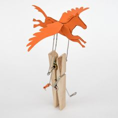Pegasus! Late stage prototype for a peg based flying horse automata. Turn the handle and the winged horse flies!