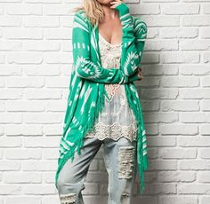 Frayed Aztec sweater! This color is huge for Spring!! Sm thru lg. $39.  Tula J Boutique is a trendy boutique in Trussville, AL that carries ladies and tween clothing, purses, shoes, jewelry, accessories, and more! Call (205) 655-5333 or stop by TODAY!